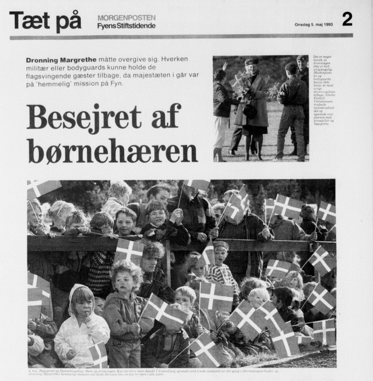 Forsiden af Fyens Stiftstidende 5.maj 1993